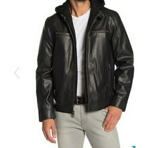 GUESS Hoodie Insert Faux Leather Jacket